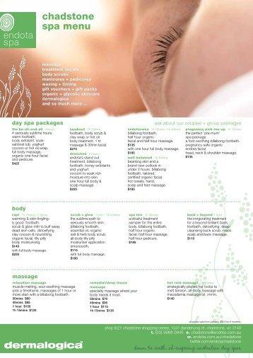 Endota Spa Melbourne Price List