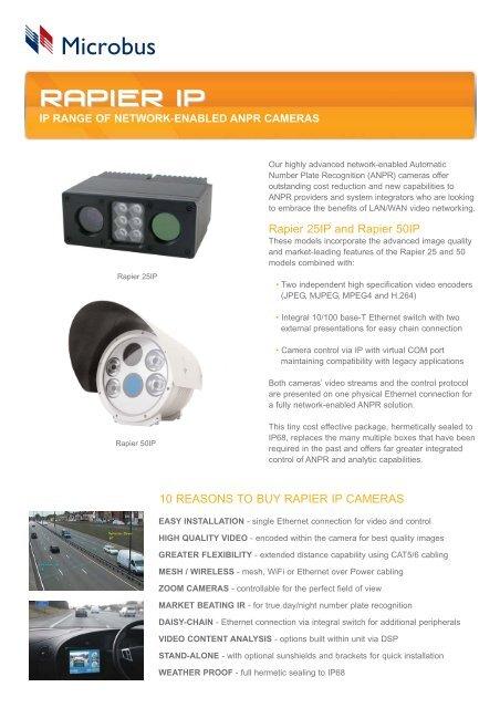 Rapier IP brochure qxd - ANPR Cameras
