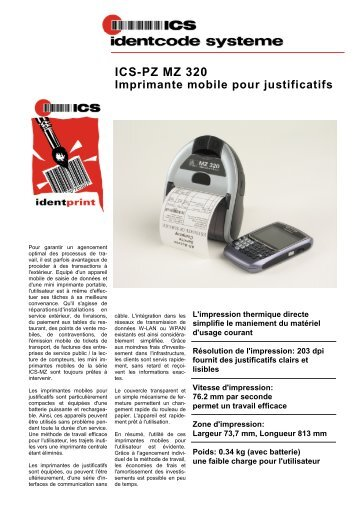 ICS-PZ MZ 320 Imprimante mobile pour justificatifs - ICS Identcode ...