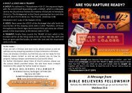 Are you Rapture Ready? - Bible Believers Fellowship Scotland