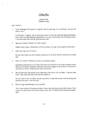 an analysis of othello in othello by william shakespeare Othello by william shakespeare — a literary and philosophical analysis level  intermediate average rating save lesson after a brief introduction to.