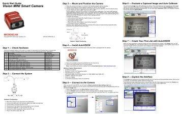 Vision MINI Smart Camera Quick Start Guide - Microscan