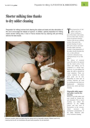 Shorter Milking Time Thanks To Dry Udder cleaning