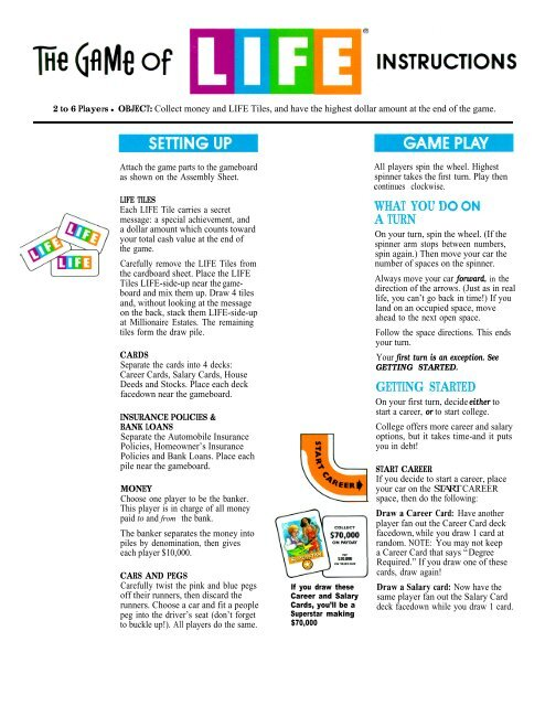 The Game Of Life Instructions Hasbro