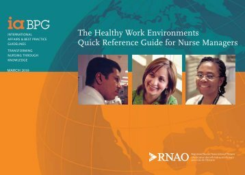 The Healthy Work Environments Quick Reference Guide for ... - QCH