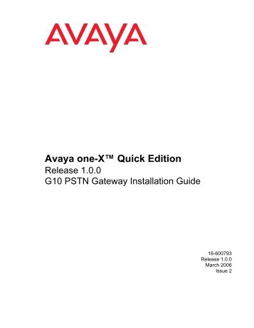 Avaya one-X Quick Edition Release 1.0.0 G10 ... - Avaya Support