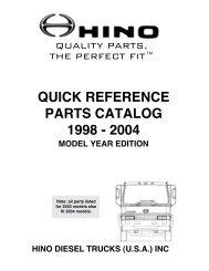 quick reference parts catalog 1998 - Hino Trucks