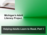 Michigan's Adult Literacy Project Helping Adults Learn to Read, Part 1