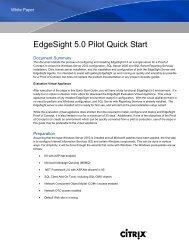 EdgeSight 5.0 Pilot Quick Start - Citrix
