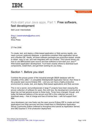 Kick-start your Java apps, Part 1: Free software, fast development