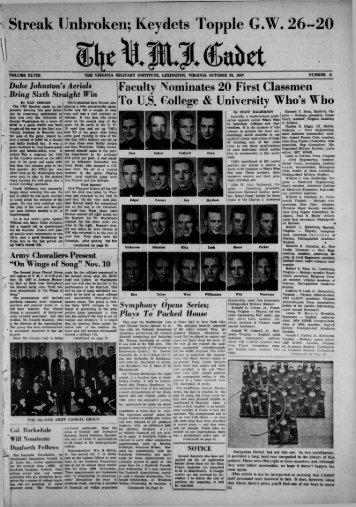 The Cadet. VMI Newspaper. October 28, 1957 - New Page 1 [www2 ...