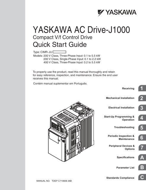 YASKAWA AC Drive-J1000 Compact V/f Control Drive Quick Start ... on
