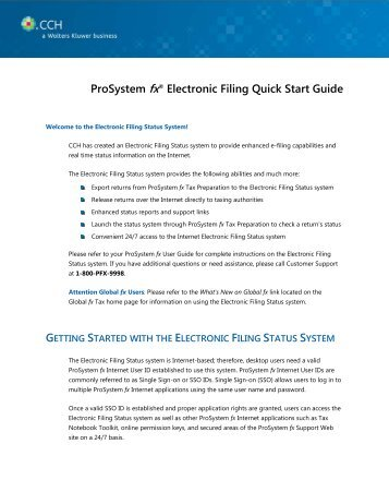 ProSystem fx® Electronic Filing Quick Start Guide - Support - CCH