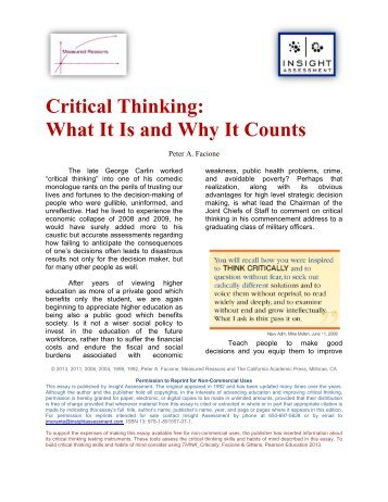 Critical Thinking: What It Is and Why It Counts - Insight Assessment