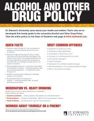 Alcohol and Drug Policy - Think St. Edward's University