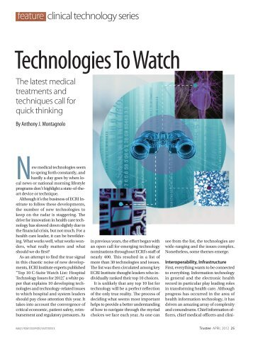 Technologies to Watch: The Latest Medical Treatments and ... - ECRI