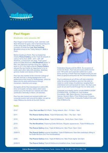 to download Paul's BIO - Adams Management
