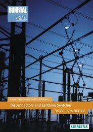 Ruhrtal Earthing Switches - Siemens Energy