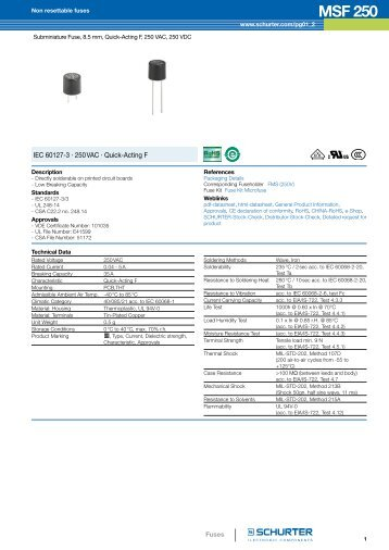 MSF 250 - Non resettable fuses - Schurter