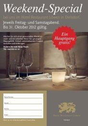 Weekend-Special - Hotel Restaurant Löwen