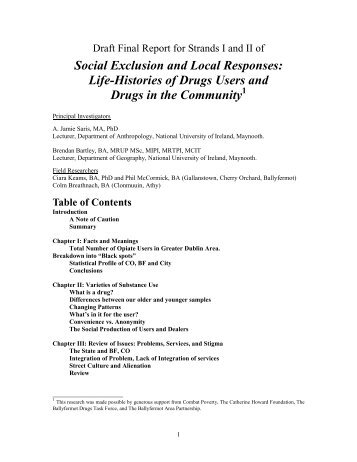 PDF (Social exclusion and local responses: life-histories