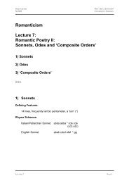 Romantic Poetry II: Sonnets, Odes and Composite Orders