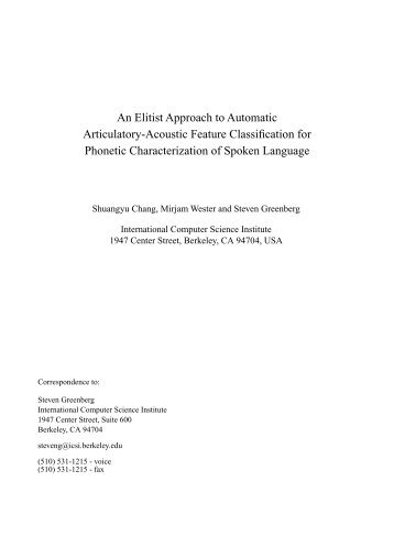 An Elitist Approach to Automatic Articulatory-Acoustic Feature ...