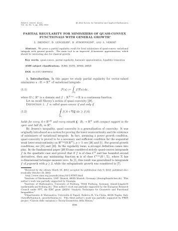 PARTIAL REGULARITY FOR MINIMIZERS OF QUASI ... - LMU