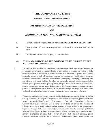 memorandum of association sample pdf