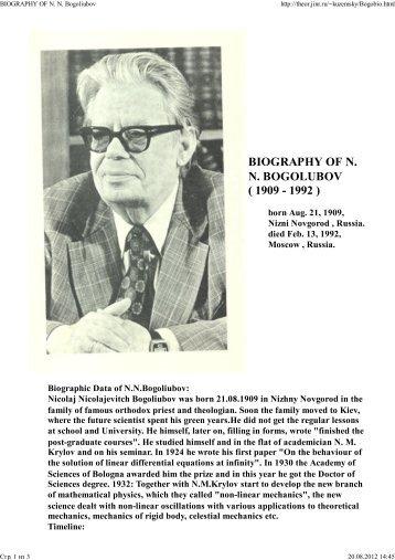 BIOGRAPHY OF N. N. Bogoliubov - Bogoliubov Laboratory of ...