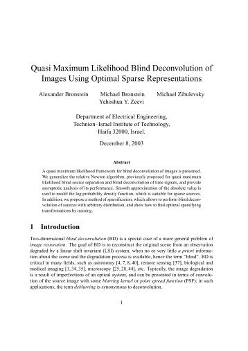 Quasi Maximum Likelihood Blind Deconvolution of Images Using ...