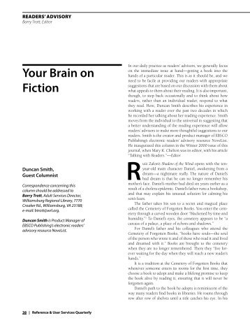 your brain on Fiction - EBSCO Publishing
