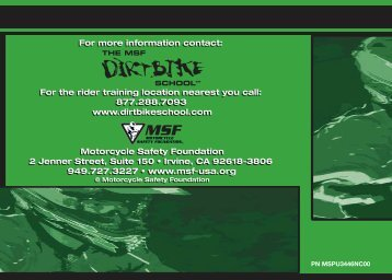 Tips and Practice Guide for - The MSF DirtBike School
