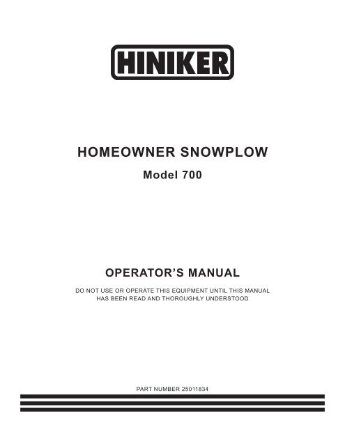 hiniker 700 manual snow plow stuff. Black Bedroom Furniture Sets. Home Design Ideas