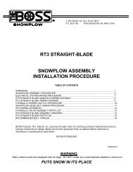 rt3 straight-blade snowplow assembly installation ... - Boss Products