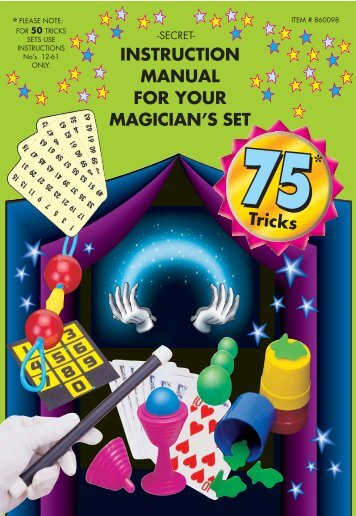 INSTRUCTION MANUAL FOR YOUR MAGICIAN'S SET