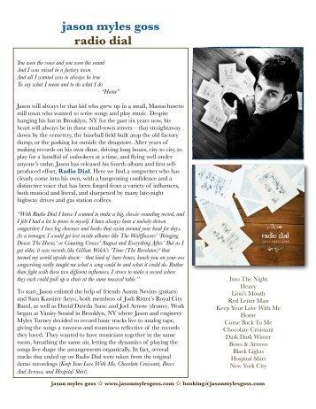 Radio Dial Press Kit One Sheet - Jason Myles Goss