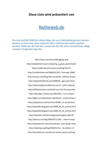 Liste mit tausend Do-Follow Blogs - Netheweb