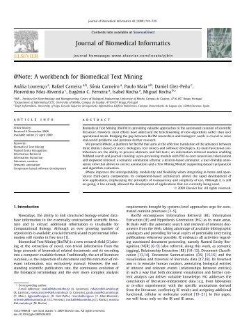 A workbench for Biomedical Text Mining - Universidade do Minho