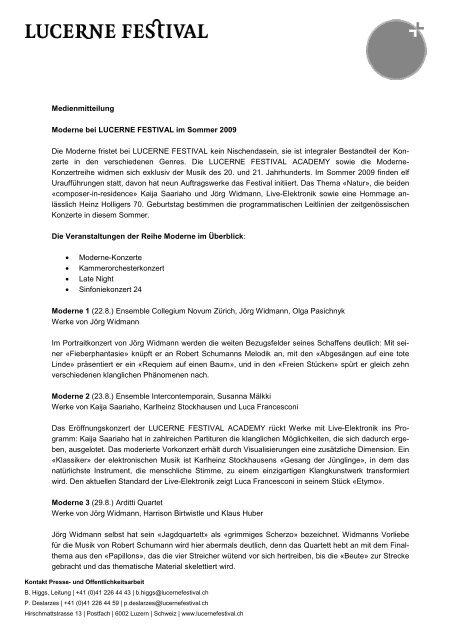 Medienmitteilung Moderne bei LUCERNE FESTIVAL im Sommer ...