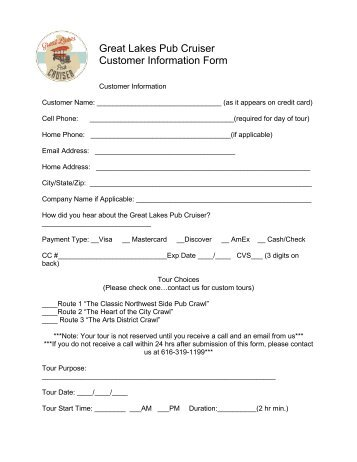 Great Lakes Pub Cruiser Tour Booking Form - Grand Rapids