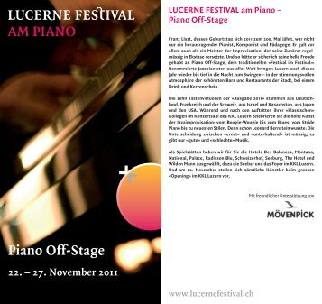 Piano Off-Stage AM PIANO - Lucerne Festival
