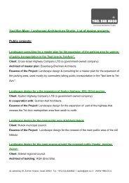 Yael Bar-Maor, Landscape Architecture Studio, List of design projects