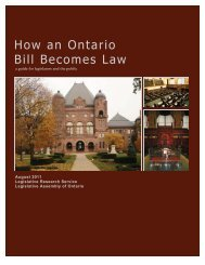 How an Ontario Bill Becomes Law - the Legislative Assembly of ...