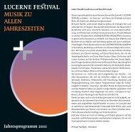 Jahresprogramm 2011 - Lucerne Festival