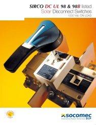 SIRCO DC UL 98 & 98B listed Solar Disconnect Switches -  Socomec