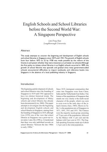 English Schools and School - Library Association of Singapore