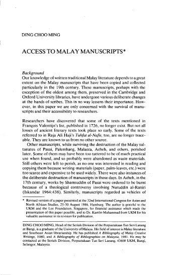 ACCESS TO MALAY MANUSCRIPTS* - Sabrizain.org