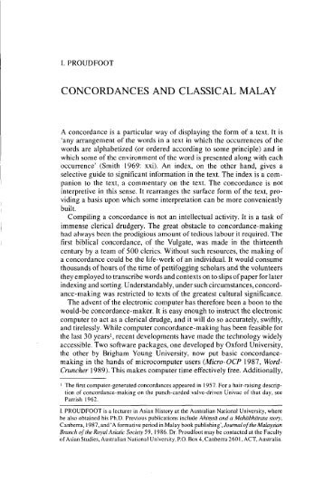 CONCORDANCES AND CLASSICAL MALAY - Sabrizain.org