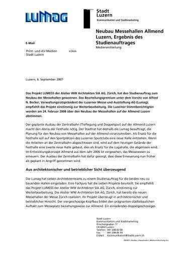Neubau Messehallen Allmend Luzern, Ergebnis des ... - Messe Luzern